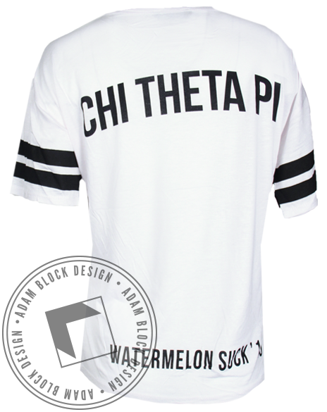 Chi Theta Pi Watermelon Striped Tee-Adam Block Design