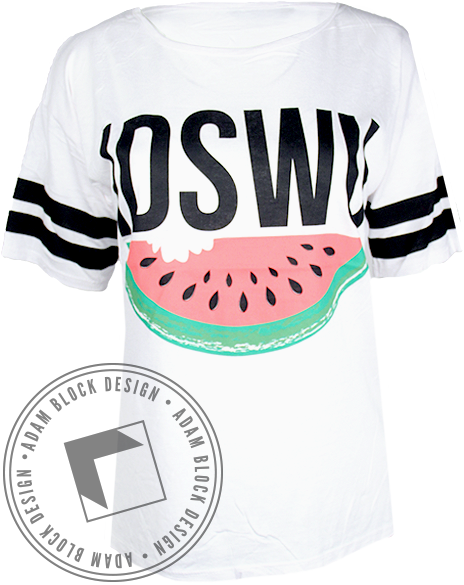 Chi Theta Pi Watermelon Striped Tee-gallery-Adam Block Design