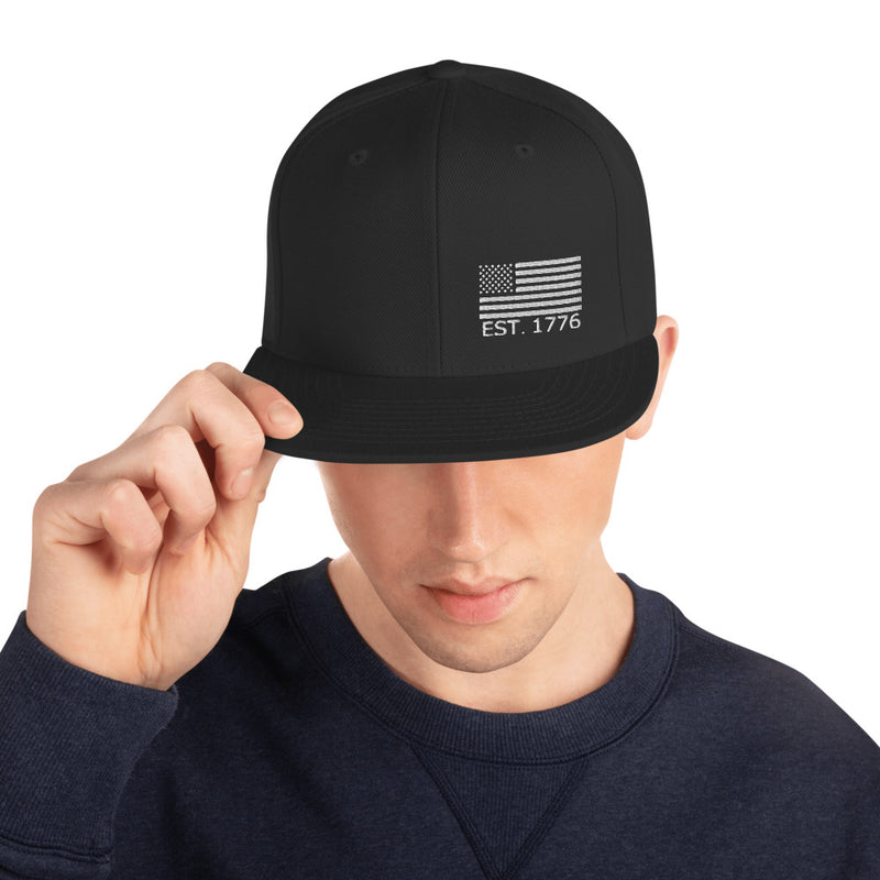 American Flag 1776 Snapback Hat - Color: Black - Adam Block Design