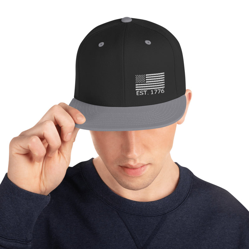 American Flag 1776 Snapback Hat - Color: Black/ Silver - Adam Block Design