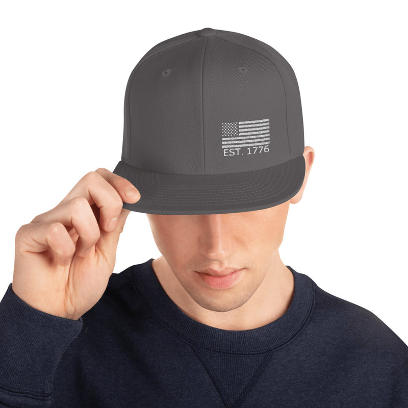 American Flag 1776 Snapback Hat - Color: Dark Grey - Adam Block Design