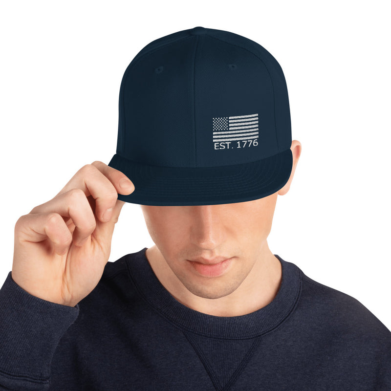 American Flag 1776 Snapback Hat - Color: Dark Navy - Adam Block Design