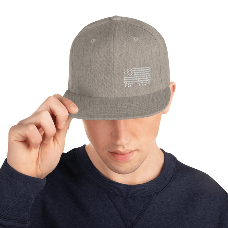 American Flag 1776 Snapback Hat - Color: Heather Grey - Adam Block Design