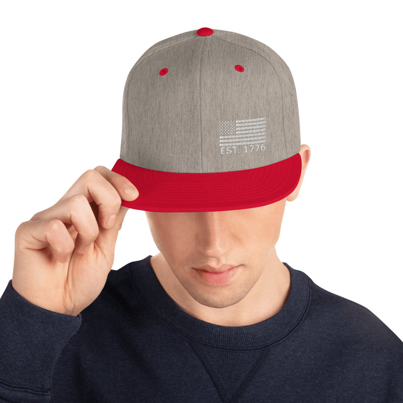 American Flag 1776 Snapback Hat - Color: Heather Grey/ Red - Adam Block Design