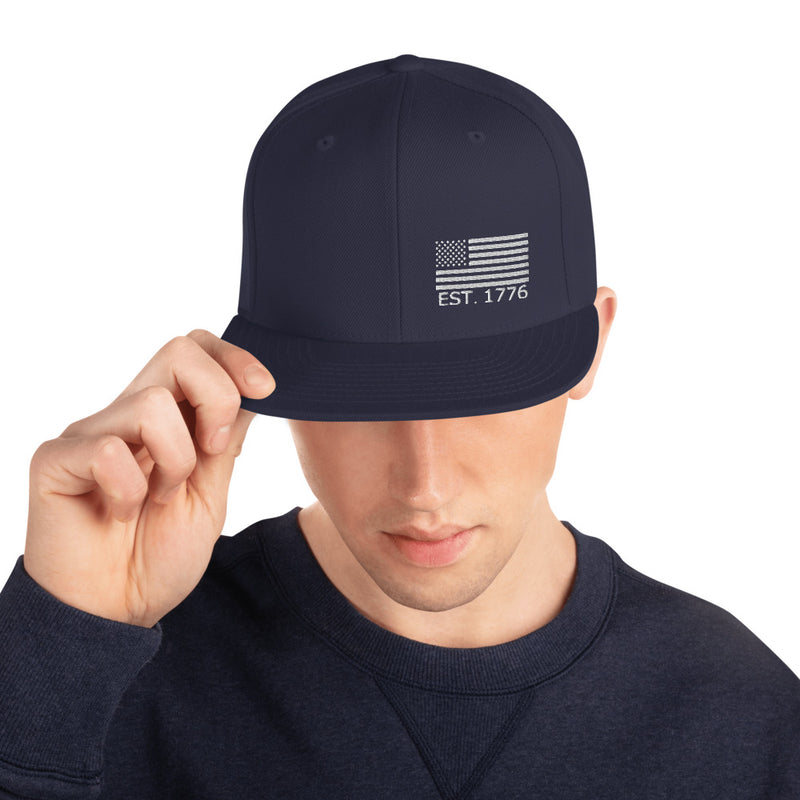 American Flag 1776 Snapback Hat - Color: Navy - Adam Block Design