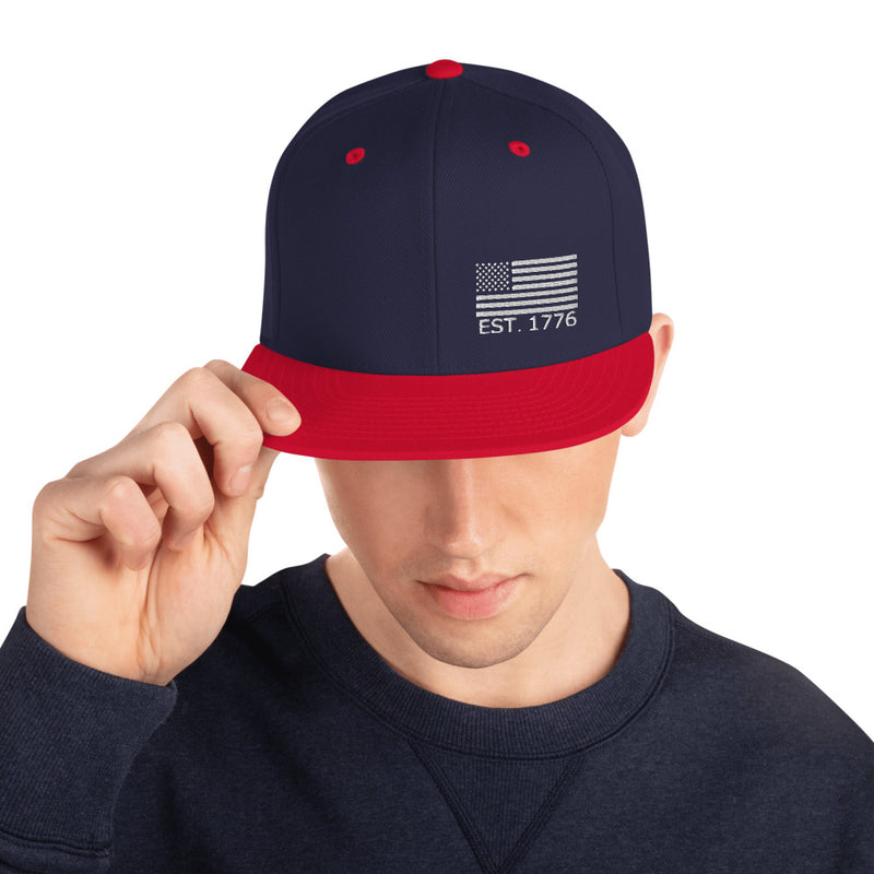 American Flag 1776 Snapback Hat - Color: Navy/ Red - Adam Block Design