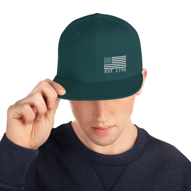 American Flag 1776 Snapback Hat - Color: Spruce - Adam Block Design