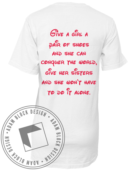 Delta Delta Delta Conquer The World Pocket Tee-Adam Block Design
