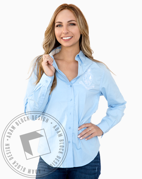 Delta Delta Delta Crest Collared Shirt-gallery-Adam Block Design