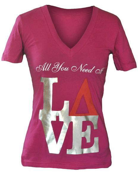 Delta Delta Delta Love V-Neck-gallery-Adam Block Design