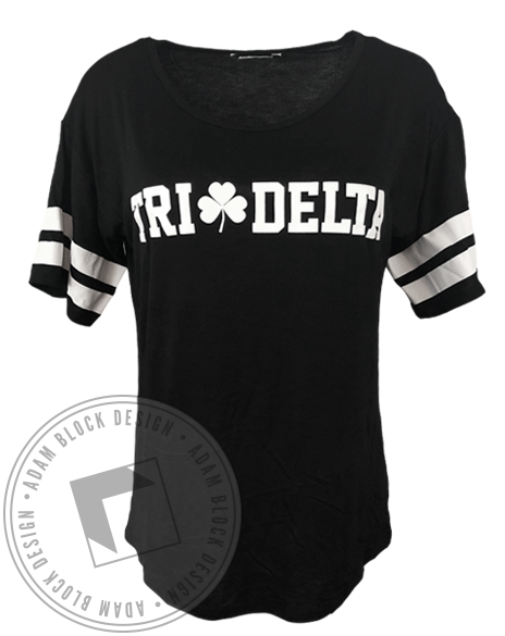 Delta Delta Delta Shamrock Striped Tee-gallery-Adam Block Design