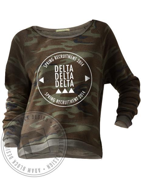 Delta Delta Delta Spring Recruitment Camo Pullover-Adam Block Design