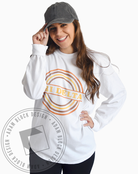 Delta Delta Delta Vintage Rainbow Long Sleeve-Adam Block Design