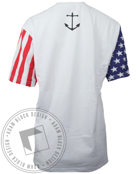 Delta Gamma Anchor American Flag Sleeves Tshirt-gallery-Adam Block Design