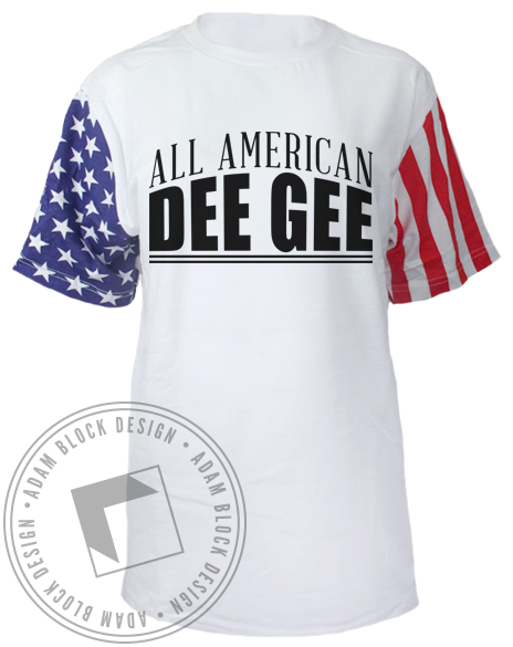 Delta Gamma Anchor American Flag Sleeves Tshirt-Adam Block Design