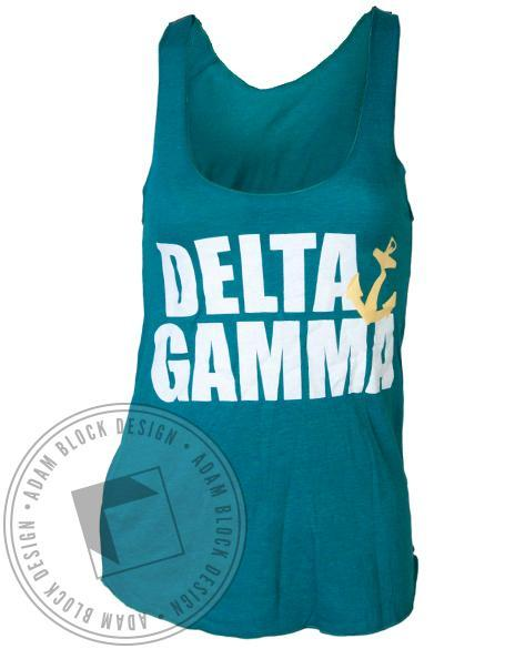 Delta Gamma Anchor Green Tank-Adam Block Design