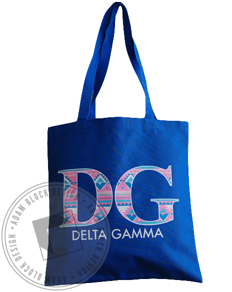 Delta Gamma Blue Tribal Tote-gallery-Adam Block Design
