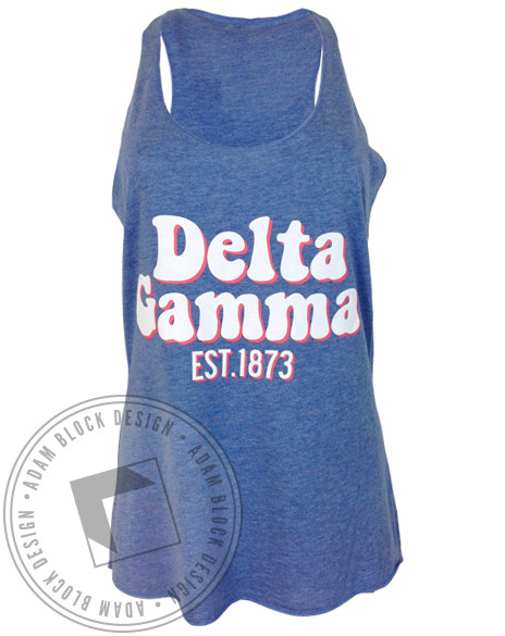 Delta Gamma Get On Board Racerback Tank-Adam Block Design