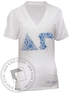 Delta Gamma Lace Applique Do Good Vneck TShirt-Adam Block Design