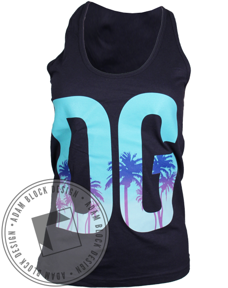 Delta Gamma Palm Tree DG Tank-Adam Block Design