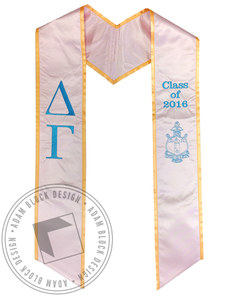 Delta Gamma Pink Graduation Stole-gallery-Adam Block Design