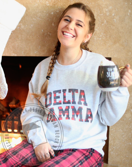 Delta Gamma Red Plaid Holiday Sweatshirt-gallery-Adam Block Design