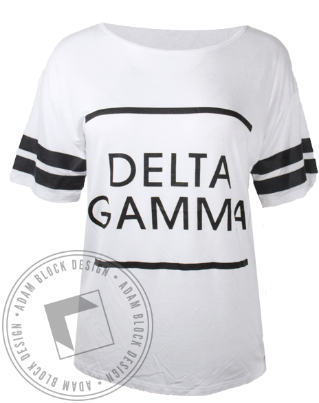 Delta Gamma Striped Sleeve Tshirt-gallery-Adam Block Design