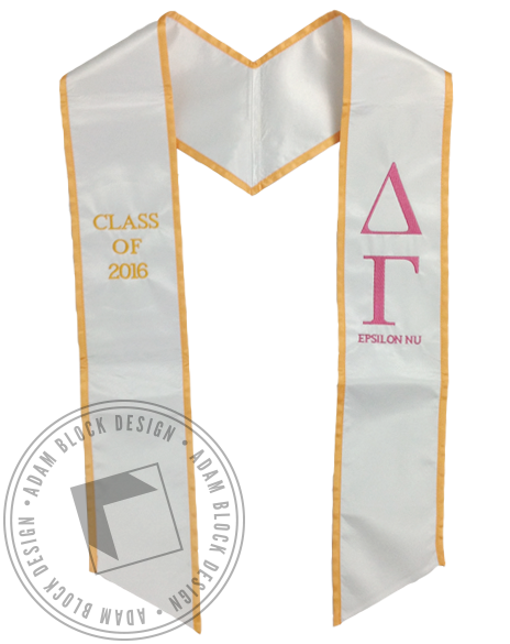 Delta Gamma White & Gold Graduation Stole-Adam Block Design