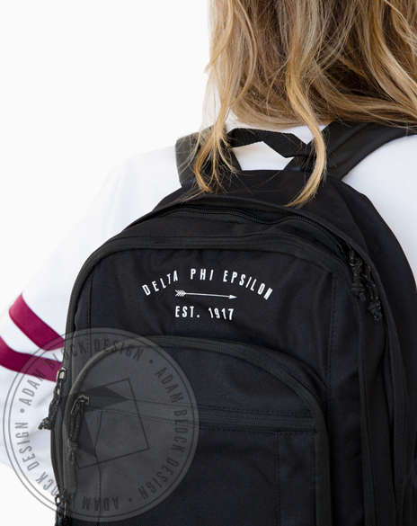 Delta Phi Epsilon Arrow Backpack-Adam Block Design