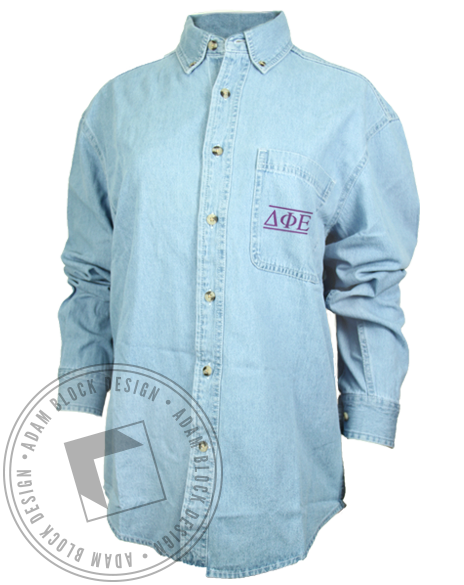 Delta Phi Epsilon Chambray Longsleeve Shirt-Adam Block Design