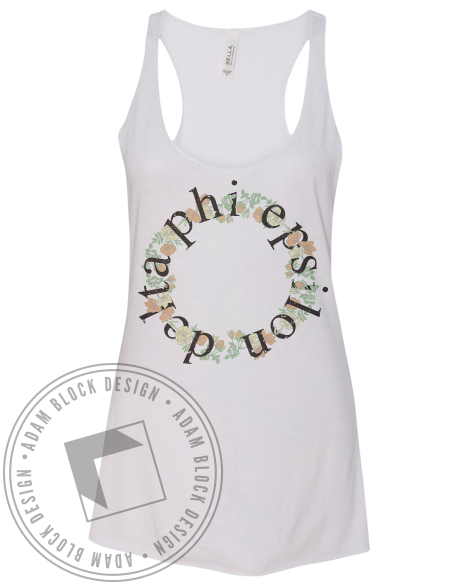 Delta Phi Epsilon Floral Wreath Tank-Adam Block Design
