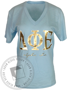 Delta Phi Epsilon Gold Foil Vneck-Adam Block Design