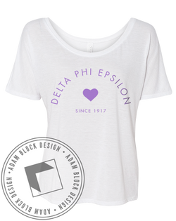 Delta Phi Epsilon Heart Tee-Adam Block Design