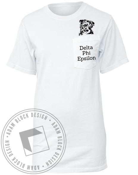 Delta Phi Epsilon Puppy Pocket Tee-gallery-Adam Block Design