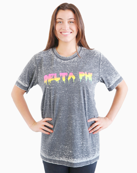 Delta Phi Epsilon Rainbow Drip T-shirt-Adam Block Design