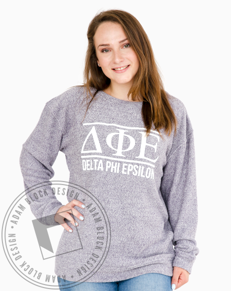 Delta Phi Epsilon Simple Cozy Crewneck-Adam Block Design