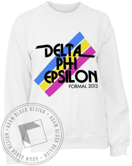 Delta Phi Epsilon Stripe Sweatshirt-gallery-Adam Block Design