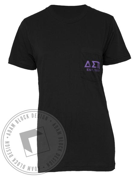 Delta Sigma Pi Crest Pocket Tee-gallery-Adam Block Design