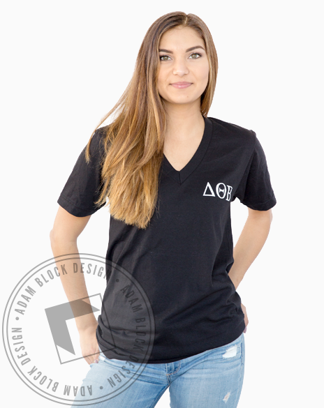 Delta Theta Beta Floral Vneck-gallery-Adam Block Design