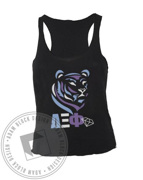 Delta Xi Phi Tiger Letter Diamond Tank-Adam Block Design