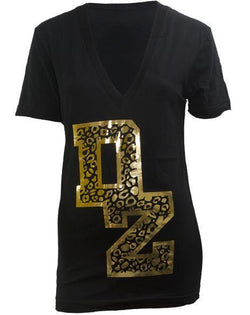 Delta Zeta Animal Print DZ V-Neck-Adam Block Design