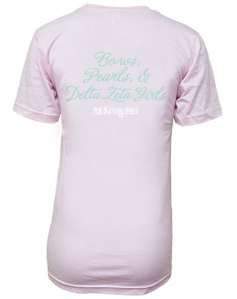 Delta Zeta Bows And Pearls Turtle Fall Bid Day V-Neck-Adam Block Design