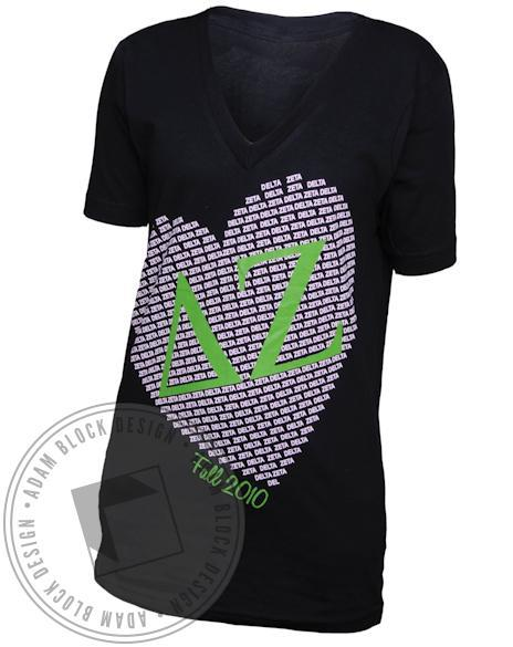 Delta Zeta DZ Heart V-Neck-Adam Block Design