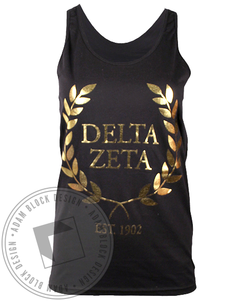 Delta Zeta Gold Wreath Tank Top-Adam Block Design