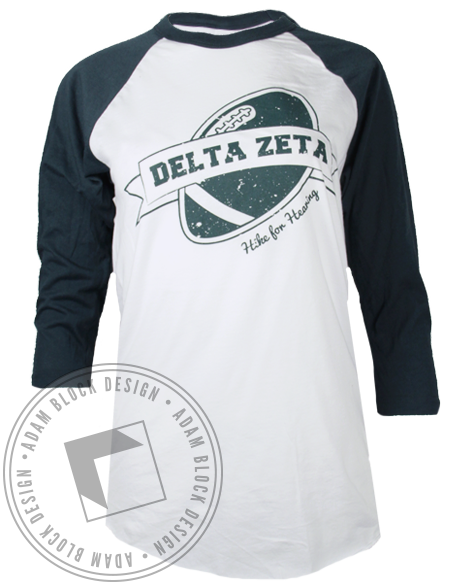 Delta Zeta Hike for Hearing Baseball Tshirt-Adam Block Design