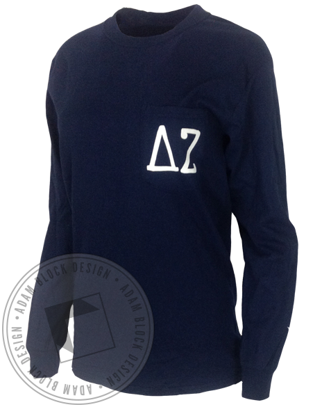 Delta Zeta Holiday Cocoa Pocket Long Sleeve-gallery-Adam Block Design