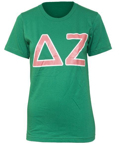 Delta Zeta Letters Green Tee-gallery-Adam Block Design