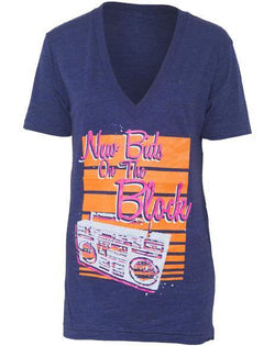 Delta Zeta New Bids Boombox V-neck-Adam Block Design