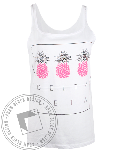 Delta Zeta Pineapples Tank Top-Adam Block Design