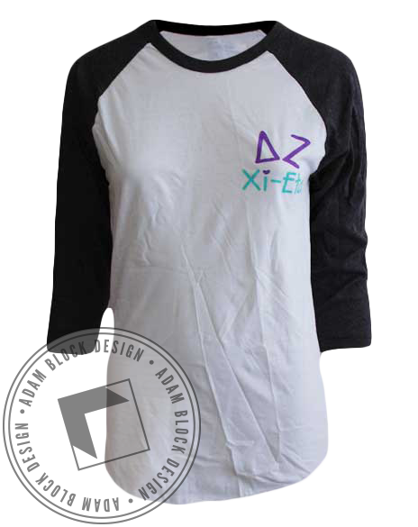 Delta Zeta Playing The Game Baseball Tee-Adam Block Design